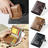 Mens Leather Business Soft Wallet Coins Pocket Credit Card Holder Purse with Zip