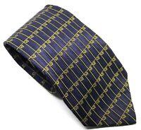 "Gianni Versace Men's Tie Blue Patterned 100% Silk 3.5"" Width 61"" Length"