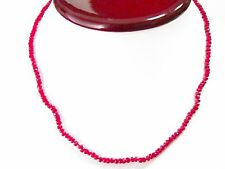 Fine Red Ruby Beads Strand String Necklace 14k Yellow Gold 17 Inches 33 Carats