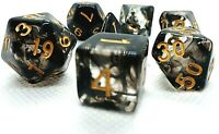RPG Würfel Set 7-teilig Poly DND Rollenspiel black Tabletop dice4friends w4-w20