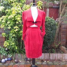 Vintage 1980s - Arlene Dahl by ANY - Red Chenille Velvet - Skirt Jacket - UK10