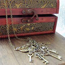 Bronce Collar de declaración Victoriana encantos claves retro vintage estilo Steampunk