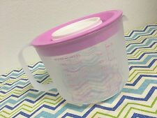 Tupperware Mix N Store 8 Cup Measuring Batter Pitcher Sheer w/ Pink Seal New