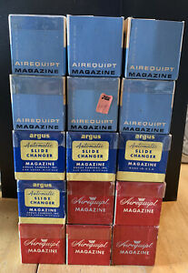 """Lot of 15 Airequipt & Argus 35mm Slide Changer 2""""x2"""" Projector Magazine Trays"""