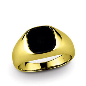 18k Solid Yellow Gold Mens Classic Ring with Natural Black Onyx Gemstone All Sz