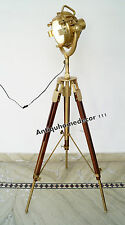 Designer Wooden Tripod Searchlight Marine Nautical Floor Lamp Spotlight Decor