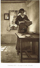 Farm Wife Woman Preparing Noons Lunch Meal Print Picture Laugee Le Soupe a Midi