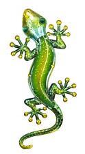 Green 44 cm Glass and Metal Gecko - Lizard Wall Art - Home Garden Decor Plaque