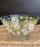 Vintage Glass Bowl White Green Yellow Daisies Hobnail bottom MCM