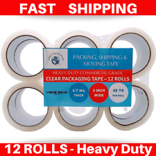 12 Rolls Heavy Duty Clear Packing Packaging Carton Sealing Tape 2x60 Yards