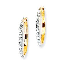 Ladies 14k Yellow Gold Diamond Polished Diamond Fascination Hinged Hoop Earrings