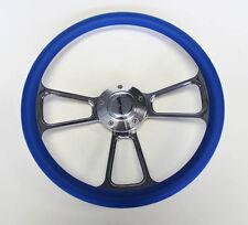 "14"" Blue Grip Billet Steering Wheel Nice Wheel Polished Adapter Shallow Dish"