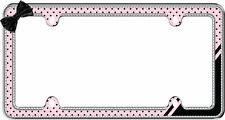 Chrome/Black/Pink Retro Polka Dots Bling License Plate Frame for USA Car-Truck