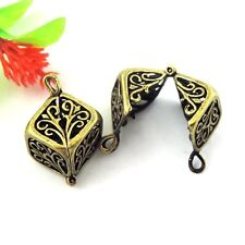 6X Antiqued Sliver Brass 3D Cube Charms Hollow Pendant Lockets Wishing box