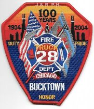 """*NEW*  Chicago  Truck - 28  """"Bucktown - 100 Years"""", IL (4"""" x 4.5"""")  fire patch"""