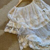 M New Boho Romantic White Lace Peasant Blouse Vtg 70s Ins Top Women's MEDIUM NWT