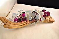 Vintage Mid Century Lucite Grapes on Driftwood Decoration Purple
