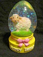 "Miniature 4 1/2"" Happy Easter Egg Shape Snow Globe Yellow Base w/ Lamb Figurine"
