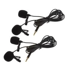 2x 3.5mm Clip-on Lapel Dual-Head Lavalier Microphone Mic For iPhone Samsung