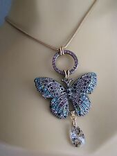 BETSEY JOHNSON BUTTERFLY EFFECTS PAVE CRYSTAL PENDANT NECKLACE~NWT