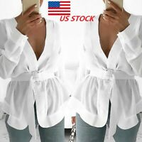 New Womens Long Sleeve Shirt With Belted Summer Loose Party Fashion Blouse Tops