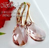 925 SILVER ROSE GOLD PL. EARRINGS PEAR - Antique Pink CRYSTALS FROM SWAROVSKI®