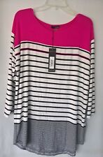 Renuar Magenta Combo Multi colored Striped Three Quarter Sleeve Pullover  Top XL