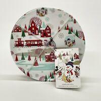"4 Vintage Disney Store 7.75"" Christmas Plates Mickey Mouse Plastic Melamine"