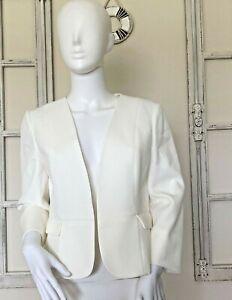 KASPER Women´s 4P Vanilla Ice Open Front Blazer Jacket Flap Pockets Collarless