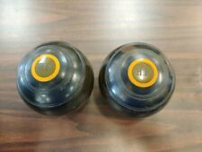 ANTIQUE PAIR MONOGRAMMED LAWN BOWLING BALLS - GREAT PAIR