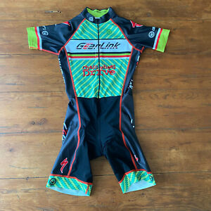 Canari Mens Medium Cycling Skinsuit Green Black Speedsuit Racesuit M