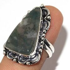 VA-4103 MOSS AGATE 925 SILVER PLATED RING US 9