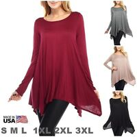 USA Women Dolman Top Shirt Long Sleeve Scoop Neck Asymmetrical Tunic PLUS S M L