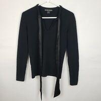 Ralph Lauren Womens Sweater Size M Black 100% Cashmere V Neck Tie Pullover