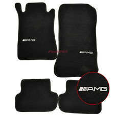 Fits 03-09 Benz W209 CLK-Class Black Nylon Floor Mats Carpets w/AMG Embroidery