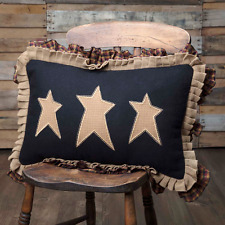 3 PRIMITIVE STARS PILLOW :  WHIMSY RUFFLED BLACK BROWN PLAID RUSTIC CABIN