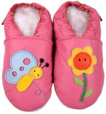 shoeszoo butterfly flower pink 12-18m S soft sole leather baby shoes