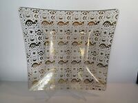 Vintage Georges Briard Glass Serving Tray Gold Circles Atomic MCM