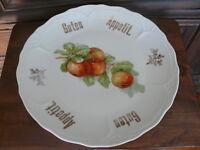 ca. 100 Jahre alter Teller ZIerteller Obstschale Porzellan handbemalt Äpfel