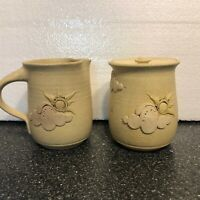 Studio Handthrown pottery sugar and creamer set specked clouds sun