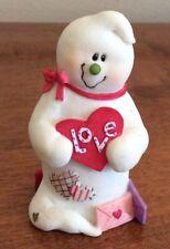 Sarah's Attic Boowonders February Giggles Ghost Snowman Figurine with Valentine