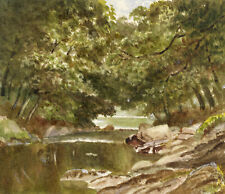 Maj. Gen. A.W. Thorneycroft, Wooded River – Early 20th-century watercolour