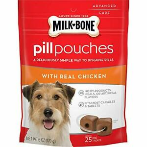 Milk-Bone Pill Pouches Dog Treats Real Chicken Flavor 6 Ounces Pack of 5