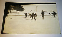 Antique Early American Pond Ice Hockey! Winter Sport Real Photo Postcard! RPPC!