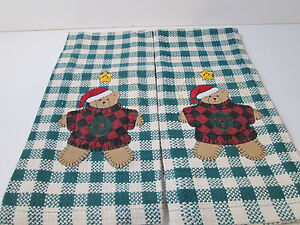 Christmas Teddy Bear Dish Towels Set of 2 Holiday Decorations