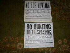 2 vintage 1970s Pennsylvania Pa No Hunting Trespassing Doe Cardboard Signs .