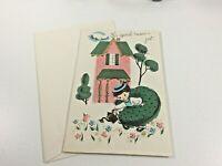 """Vintage Mid Century 1950's Greeting Card  """"Just Say HI"""" w Envelope"""
