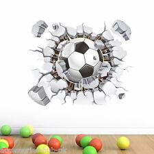 3D calcio in Wall Sticker Decalcomania Grafico Camera Da Letto Per Ragazzi Stadium Crack Muro