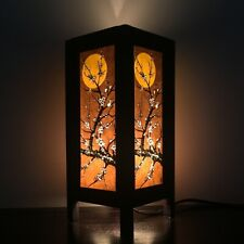 Asian Wood Lamp Shades Oriental Table Thai Vintage Moon Cherry Blossom Handmade