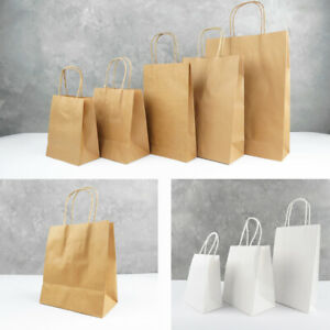 10-200 White / Brown PAPER BAGS BULK 6 Sizes Gift Bags HANDLE Carry Shopping